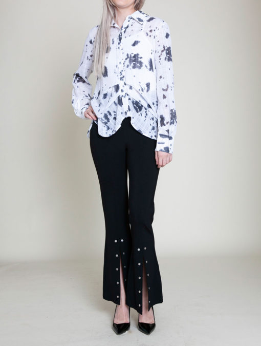 black printed blouse- front