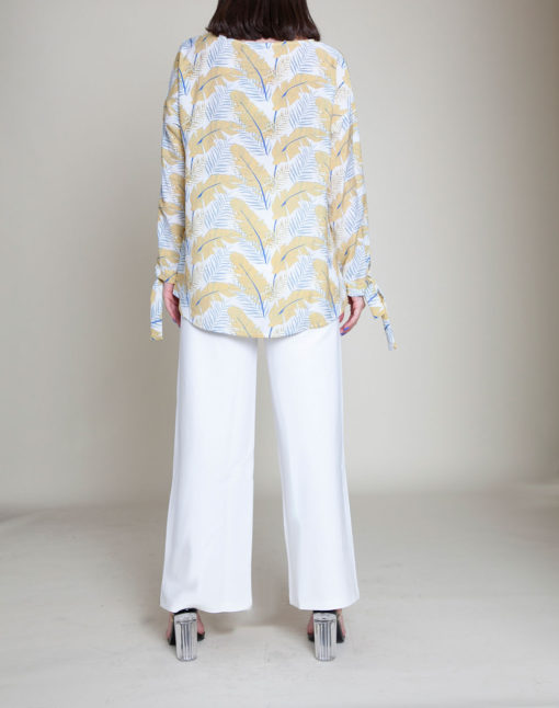 white and yellow feather printed top- back
