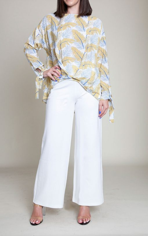 white and yellow feather printed top- front