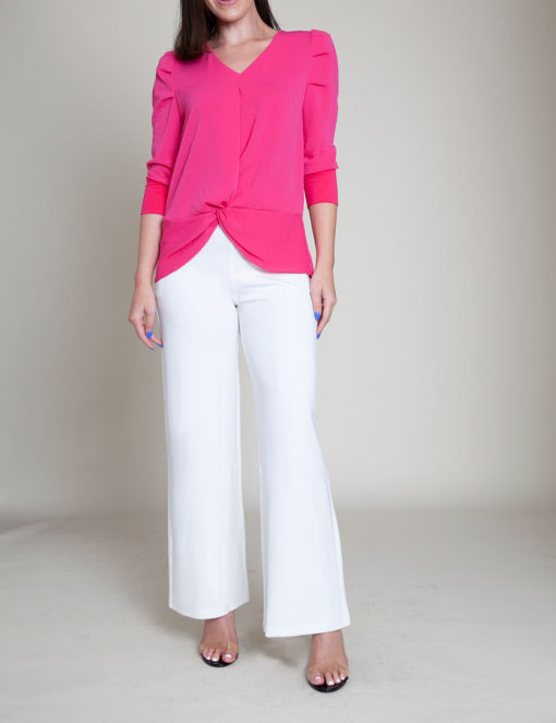 fushia pink knot front top- front