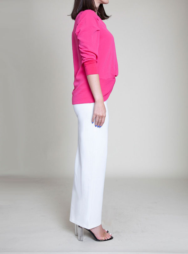 fushia pink knot front top- side
