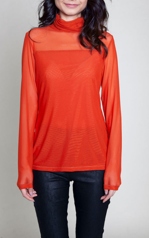 rust mesh turtleneck top- front