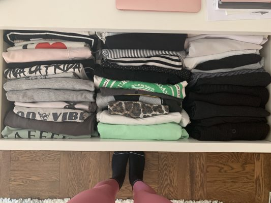 folded shirt and top drawer