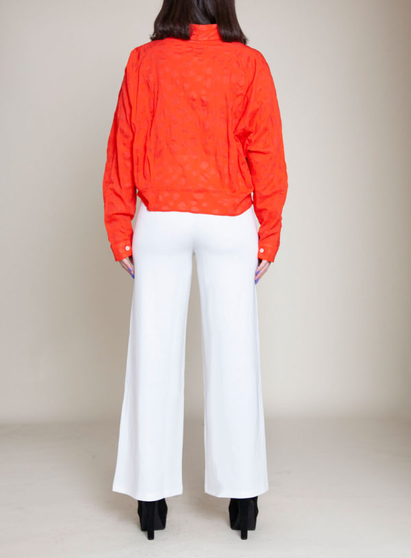 knot front coral blouse- back