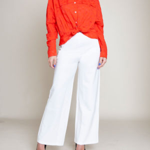 knot front coral blouse- front