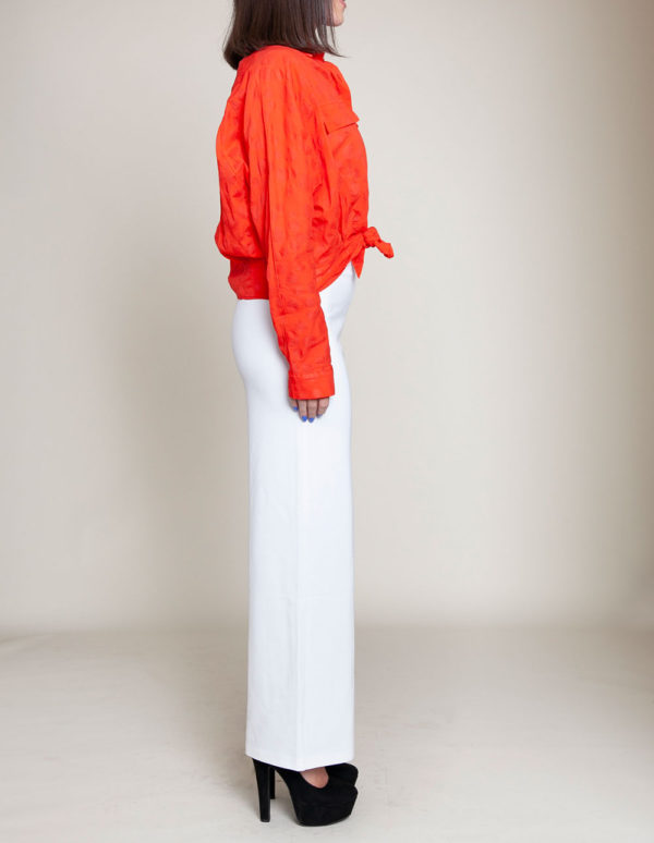 knot front coral blouse- side