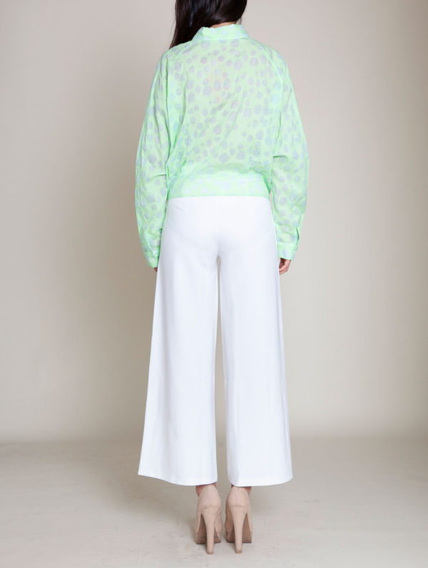 knot front green blouse- back