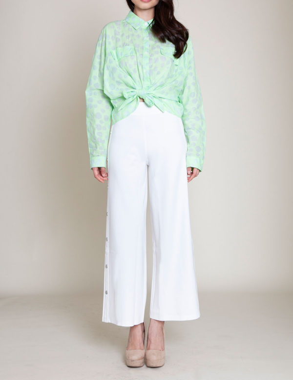 knot front green blouse- front