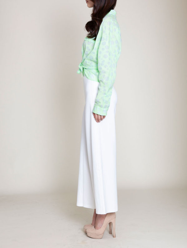 knot front green blouse- side