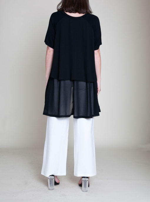 CHIFFON SIDE OVERSIZED BLACK TOP- BACK