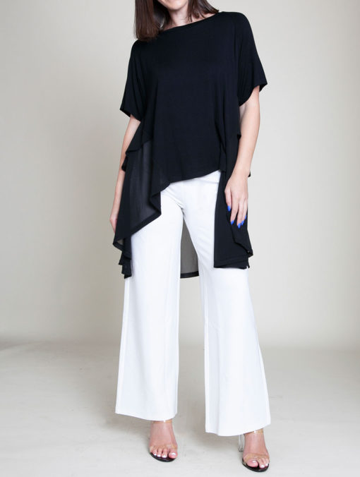 CHIFFON SIDE OVERSIZED BLACK TOP- FRONT
