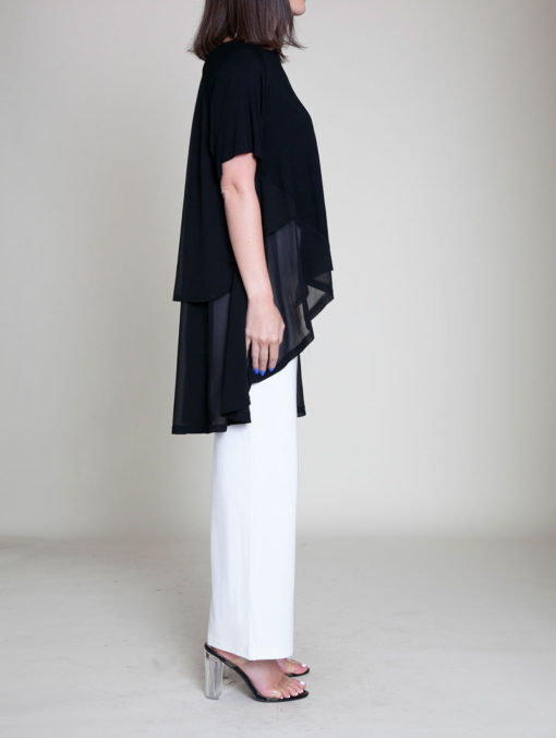 CHIFFON SIDE OVERSIZED BLACK TOP- SIDE