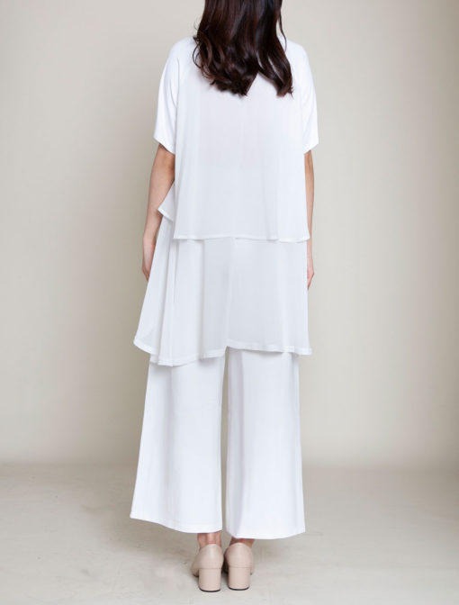 CHIFFON SIDE OVERSIZED WHITE TOP- BACK