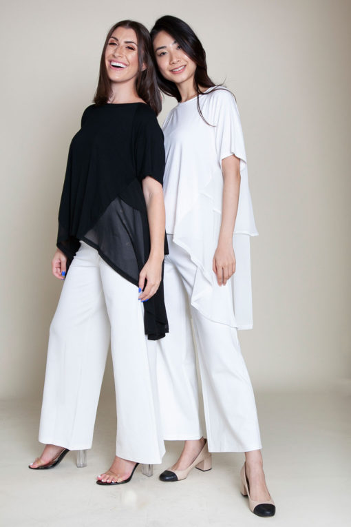 CHIFFON SIDE OVERSIZED BLACK AND WHITE TOPS- FRONT