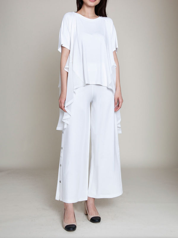 CHIFFON SIDE OVERSIZED WHITE TOP- FRONT
