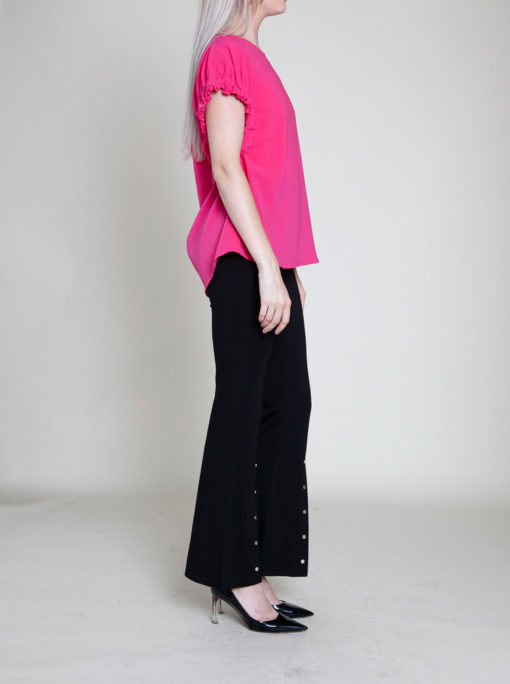FUCHSIA SHORT SLEEVE TOP- SIDE