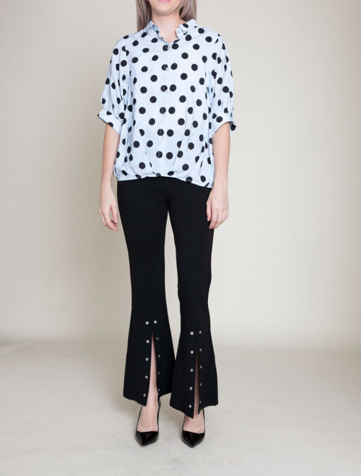 POLKA DOT BUTTON DOWN BLUE TOP- FRONT