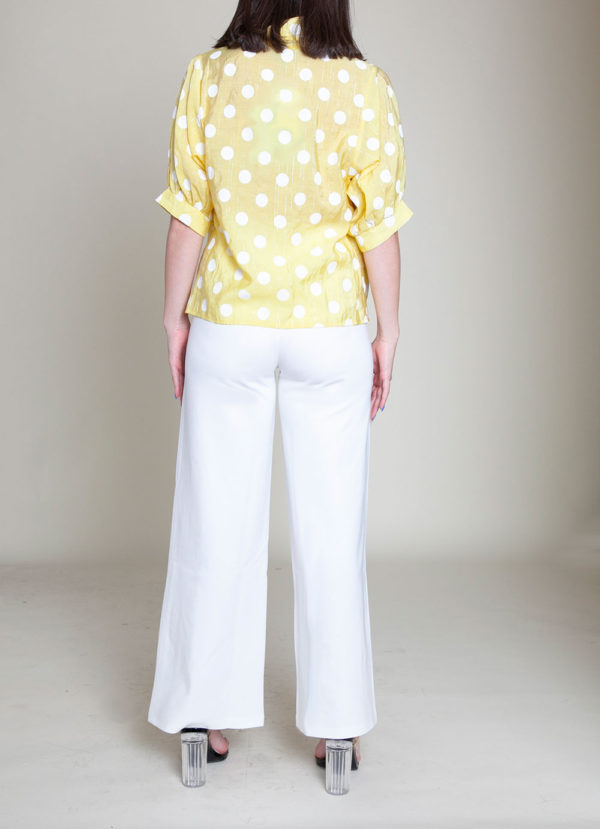POLKA DOT BUTTON DOWN YELLOW TOP- BACK