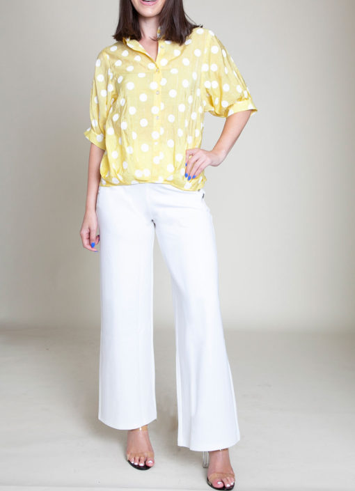 POLKA DOT BUTTON DOWN YELLOW TOP- FRONT