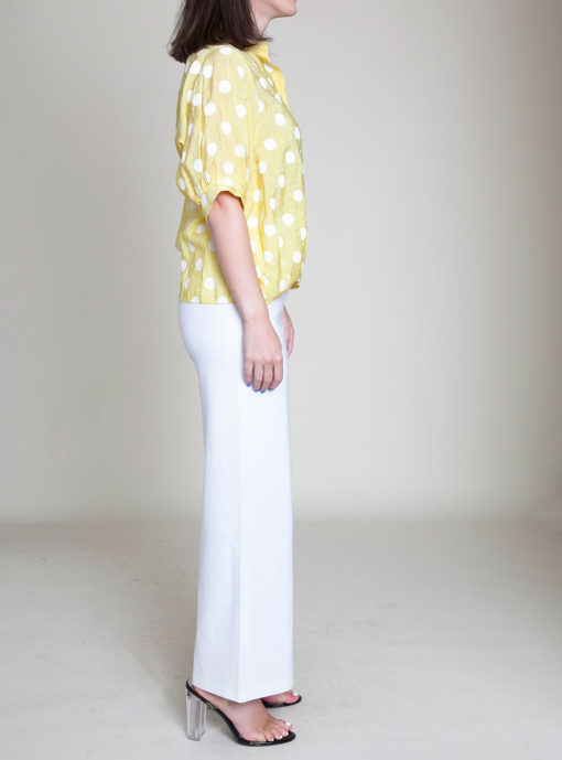 POLKA DOT BUTTON DOWN YELLOW TOP- SIDE