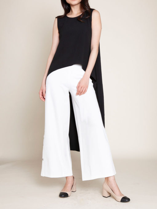 SLEEVELESS HIGH LOW BLACK TOP- FRONT