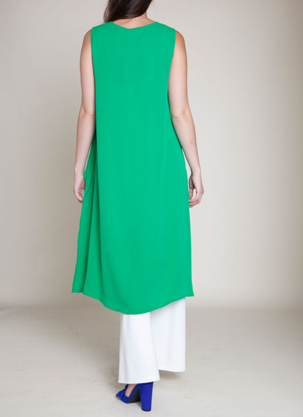 SLEEVELESS HIGH LOW KELLY GREEN TOP- BACK