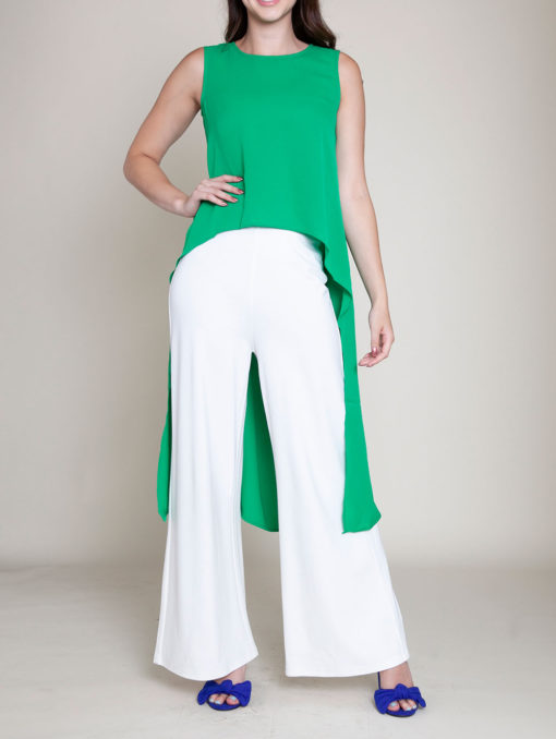 SLEEVELESS HIGH LOW KELLY GREEN TOP- FRONT