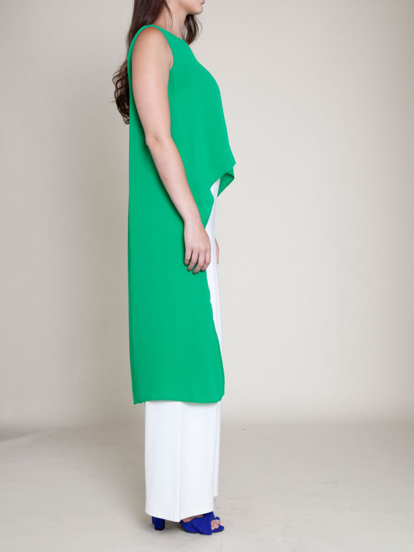 SLEEVELESS HIGH LOW KELLY GREEN TOP- SIDE