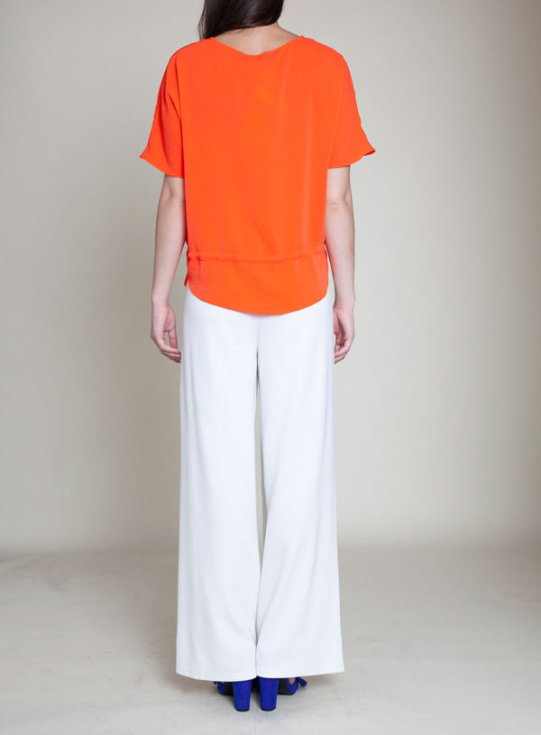 side tie coral top- back
