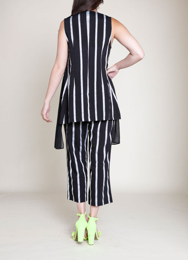 STRIPED CO ORD VEST AND CROP PANTS- BACK