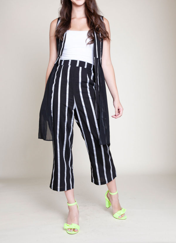 STRIPED CO ORD VEST AND CROP PANTS- FRONT