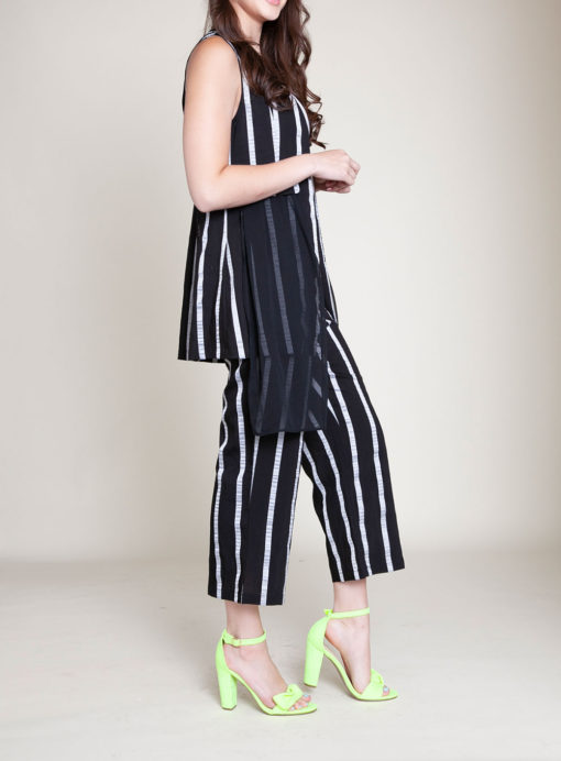 STRIPED CO ORD VEST AND CROP PANTS- SIDE