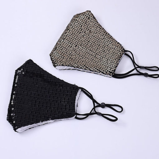 black and silver sequin face masks