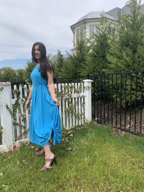 blue ballon dress- side