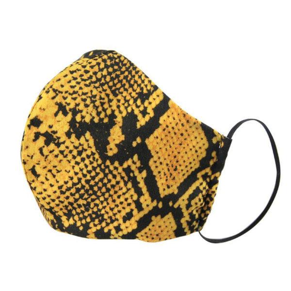 mustard snake print face mask