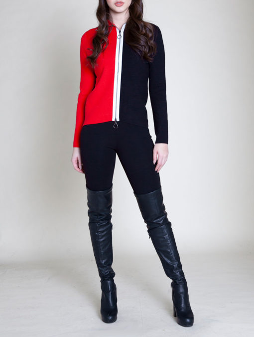 ZIP FRONT COLOR BLOCK RED SWEATER- FRONT