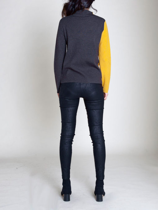 ZIP FRONT COLOR BLOCK YELLOW SWEATER- BACK