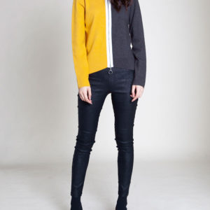 ZIP FRONT COLOR BLOCK YELLOW SWEATER- FRONT