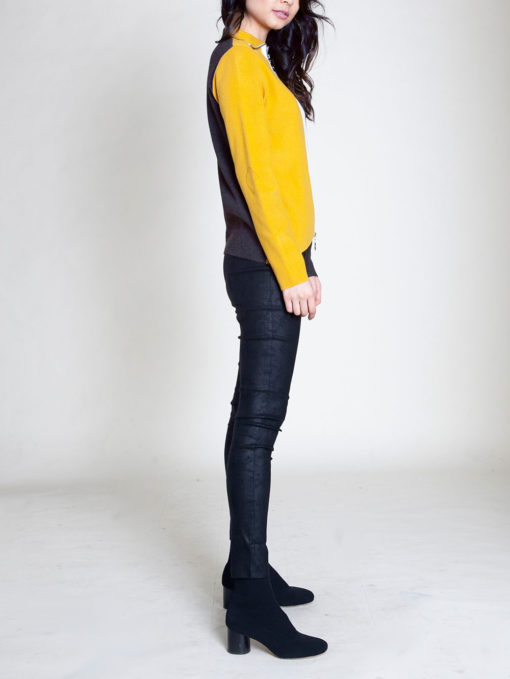 ZIP FRONT COLOR BLOCK YELLOW SWEATER- SIDE