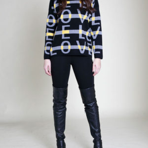 LOVE PRINT BLACK SWEATER- FRONT
