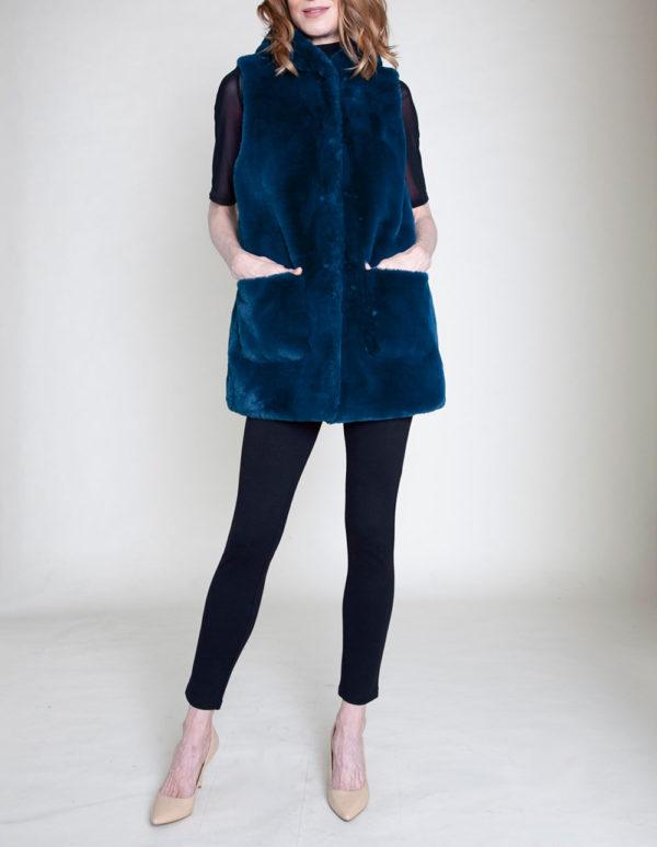 faux fur hooded teal vest- front
