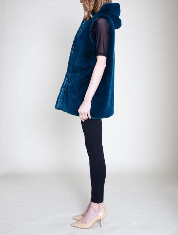 faux fur hooded teal vest- side