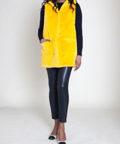 faux fur hooded yellow vest- front