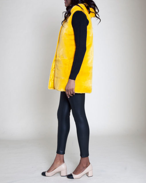 faux fur hooded yellow vest- side