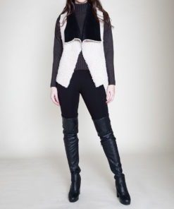 black and white reversible faux shearling vest- front