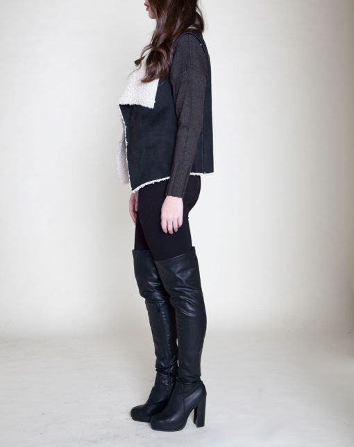 black and white reversible faux shearling vest- side