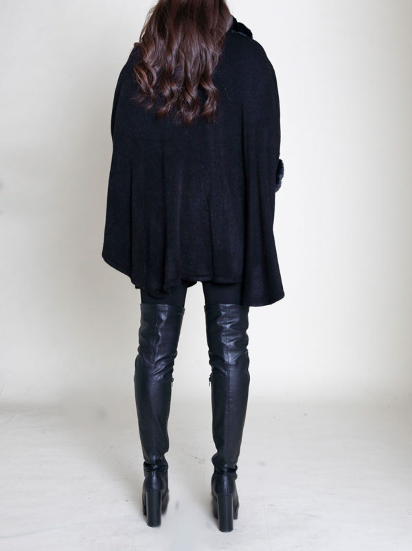 faux fur sleeved black poncho- back
