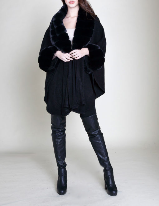 faux fur sleeved black poncho- front