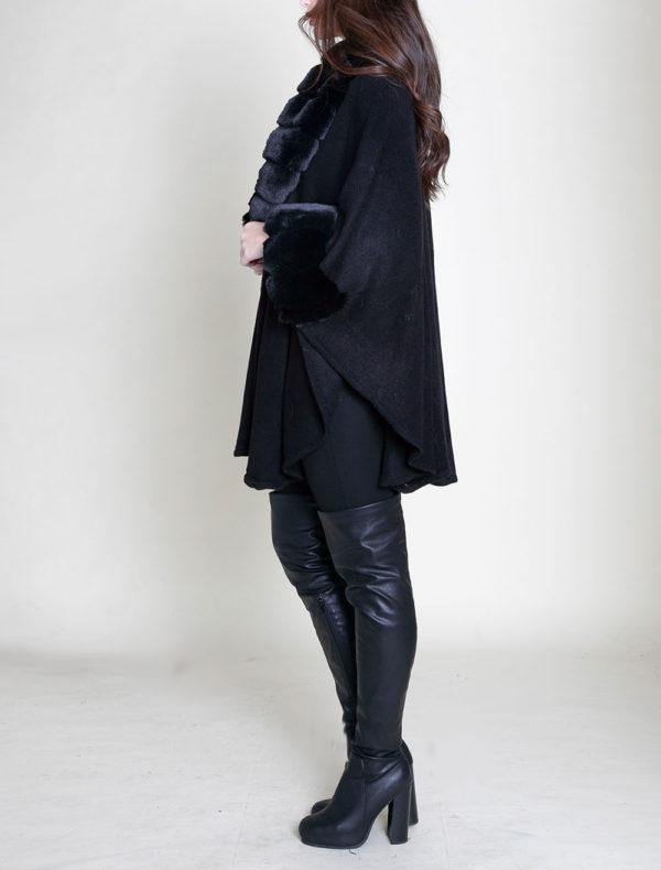 faux fur sleeved black poncho- side