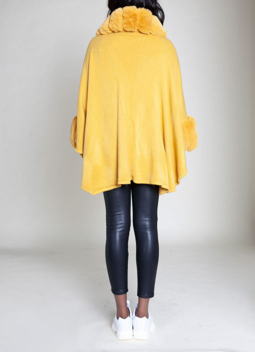 FAUX FUR LINED YELLOW PONCHO- BACK